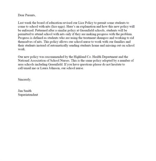 School Letter To Parents About Head Lice