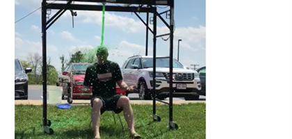 Principal Zink being slimed
